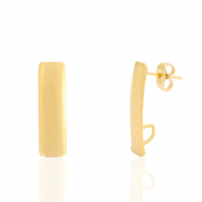Stainless steel earrings/earpin rectangle with loop Gold