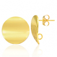 Brass TQ metal earpin round 18mm with loop Gold
