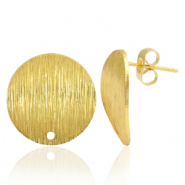 Brass TQ metal earpin round 18mm with eye Gold