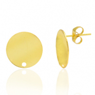 Brass TQ metal earpin round 15mm with eye Gold