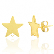 Brass TQ metal earpin star with loop Gold