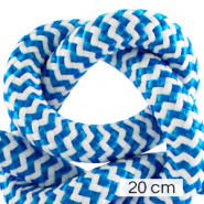 Maritime cord 10mm (4x20cm) White-Capri Blue