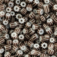 Glass seed beads 8/0 (3mm) stripes White-Dark Brown