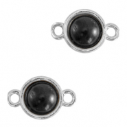 Natural stone charms connector 8mm Black-Silver