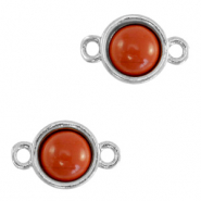 Natural stone charms connector 8mm Terracotta Brown-Silver
