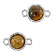 Natural stone charms connector 8mm Topaz Brown-Silver