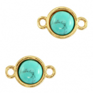 Natural stone charms connector 8mm Marble Turquoise-Gold