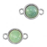 Natural stone charms connector 8mm Ocean Green-Silver