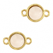 Natural stone charms connector 8mm White Rose-Gold