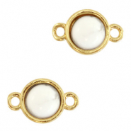 Natural stone charms connector 8mm Marble White-Gold