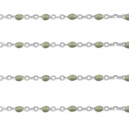 Stainless steel findings belcher chain 1mm Military Green-Silver