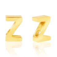 Stainless steel beads letter Z Gold