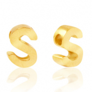 Stainless steel beads letter S Gold