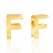 Stainless steel beads letter F Gold