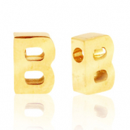 Stainless steel beads letter B Gold