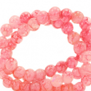 8 mm marbled glass beads Azalea Pink