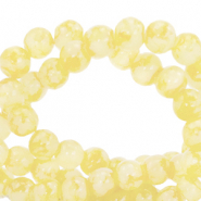 8 mm marbled glass beads Freesia Yellow White