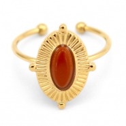 Stainless steel rings with Red Jasper Gold-Red