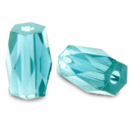 Top faceted beads tube Aquamarine Blue