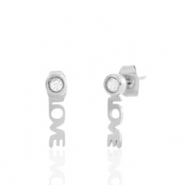 Stainless steel earrings/earpin LOVE Silver