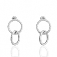 Stainless steel earrings/earpin rings Silver