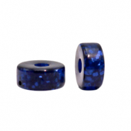 Polaris beads disc 4mm Glitzer Deep Blue