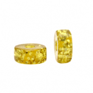 Polaris beads disc 4mm Glitzer Olive Oil Yellow