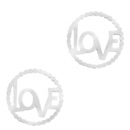 "Stainless steel charms/connector ""LOVE"" Silver"