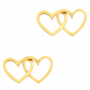 Stainless steel charms/connector double heart Gold