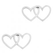 Stainless steel charms/connector double heart Silver