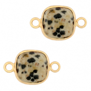 Natural stone charms connector 12x12mm Greige-Gold