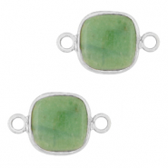 Natural stone charms connector 12x12mm Ocean Green-Silver