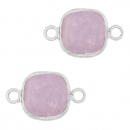 Natural stone charms connector 12x12mm Icy Lavender Purple-Silver