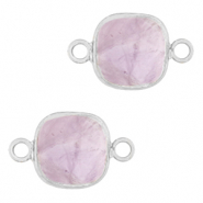 Natural stone charms connector 12x12mm Soft Purple Heather-Silver