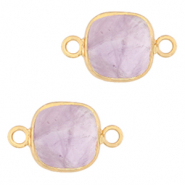 Natural stone charms connector 12x12mm Soft Purple Heather-Gold