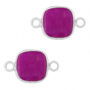 Natural stone charms connector 12x12mm Purple-Silver