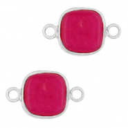 Natural stone charms connector 12x12mm Magenta Purple-Silver