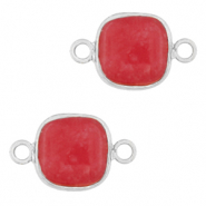 Natural stone charms connector 12x12mm Raspberry Pink-Silver