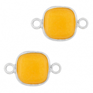 Natural stone charms connector 12x12mm Saffron Yellow-Silver