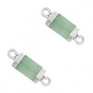 Natural stone charms connector hexagon Ocean Green-Silver