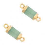 Natural stone charms connector hexagon Ocean Green-Gold