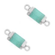 Natural stone charms connector hexagon Icy Turquoise Blue-Silver
