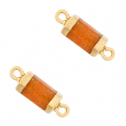 Natural stone charms connector hexagon Amberglow Orange-Gold