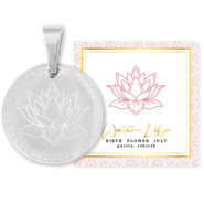 Stainless steel Mix & Match charms 15mm Birth flower July-Water lIly Silver