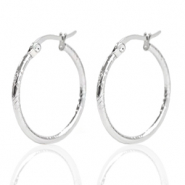 Stainless steel earrings creole 25mm Silver