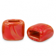 C.U.S jewellery sliders DQ greek ceramic 11x12mm True Red