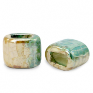 C.U.S jewellery sliders DQ greek ceramic 11x12mm Peacock Green-Beige Brown