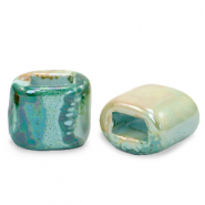 C.U.S jewellery sliders DQ greek ceramic 11x12mm Aqua Haze Green-Almond
