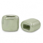 C.U.S jewellery sliders DQ greek ceramic 11x12mm Green Slate
