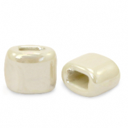 C.U.S jewellery sliders DQ greek ceramic 11x12mm Linen White